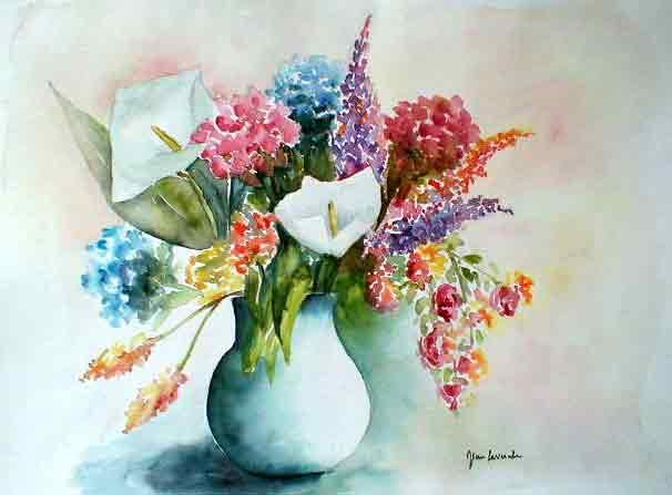 Le bouquet de fleurs. Aquarelle de Jean LAVERNHE , Chansons et Mp3 «