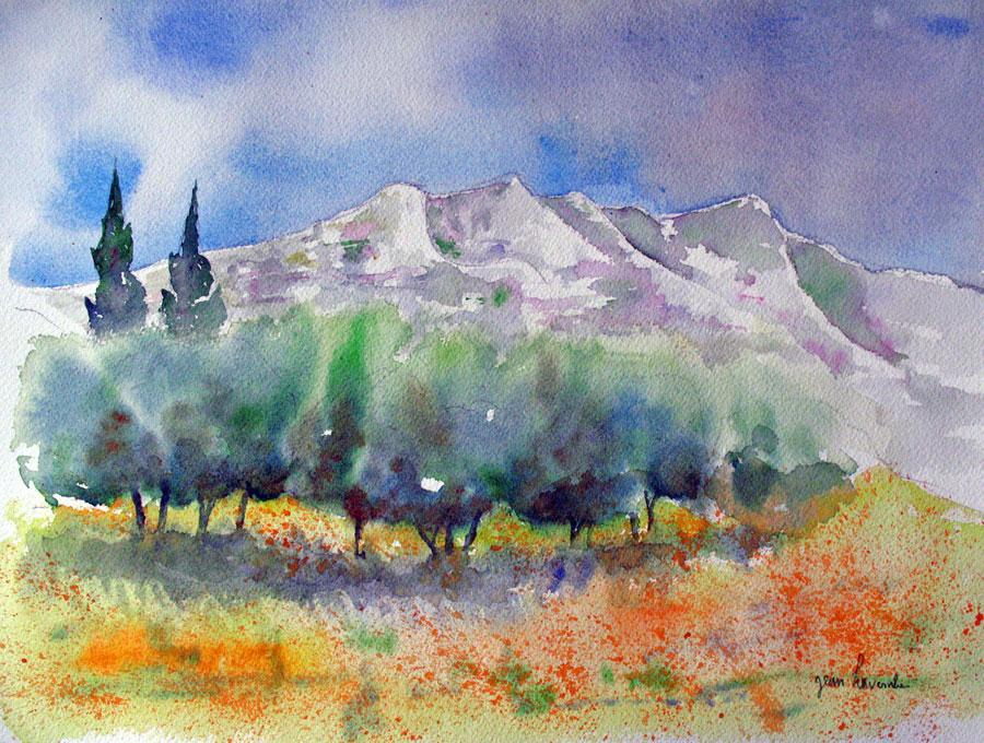 Montagne Sainte Victoire Aquarelle De J Lavernhe